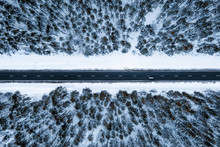 Aerial View Of The Winter Road...