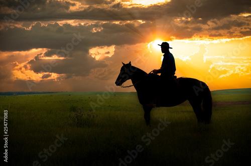 Cadres-photo bureau Vache Homem à cavalo
