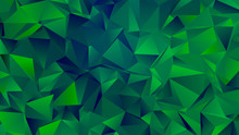 Dark Green Hues Trendy Low Poly Backdrop Design