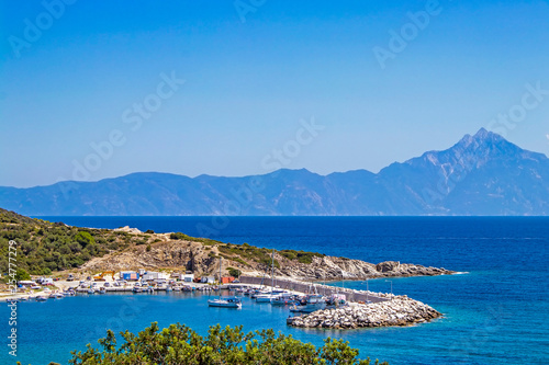 Beautiful seascape with view of Mount Athos. Chalkidiki, Greece Tablou Canvas