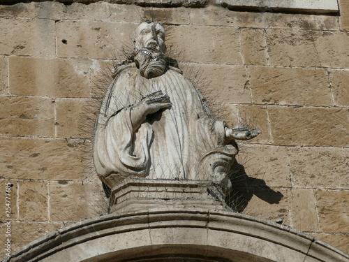 Foto  Statua antica ricoperta di filo spinato in ferro per tenere lontano gli uccelli