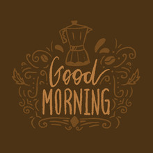 Good Morning Poster With Coffe...