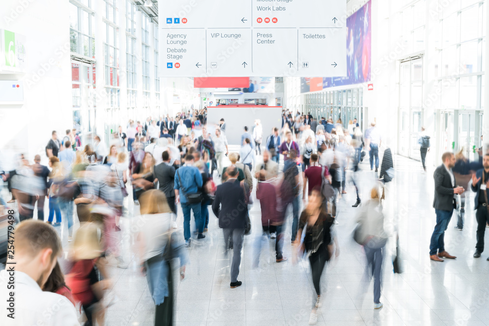Fototapeta blurred people at a trade fair