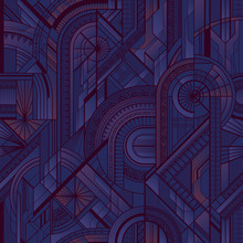 Seamless Art Deco Geometric Purple Pattern