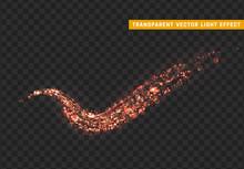 Magic Light Effect. Stardust Red Glitter. Sparkle Star Dust Vector Illustration