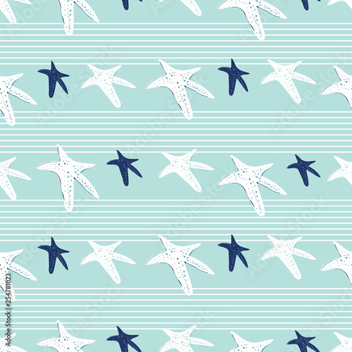 Fotografie, Obraz  Coastal, nautical starfish repeat pattern
