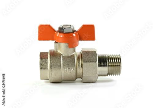 Photo  Water valve isolated on white