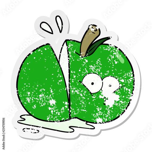 Fotografie, Obraz  distressed sticker of a cartoon sliced apple