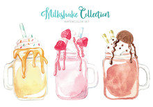 Watercolor Milkshakes With Chocolate, Strawberry, Ice Cream And Macaroons, Hand Drawn Illustration