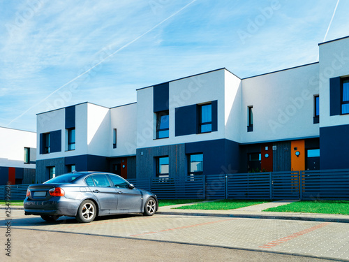 Apartment modern house and home residential building complex street parking Wallpaper Mural