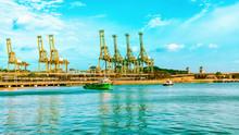 Ships And Loading Cranes Sentosa Island Singapore
