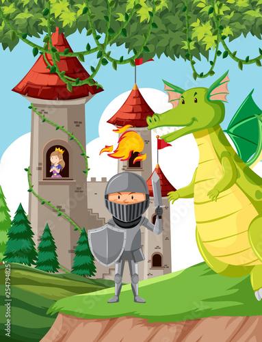 Zamek z księżniczką, rycerzem i smokiem