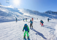 Skier Children At Hintertux Gl...