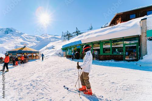 Fototapeta Skier Man at Hintertux Glacier ski resort in Zillertal Austria obraz