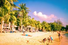 Family Siloso Beach At Sentosa...