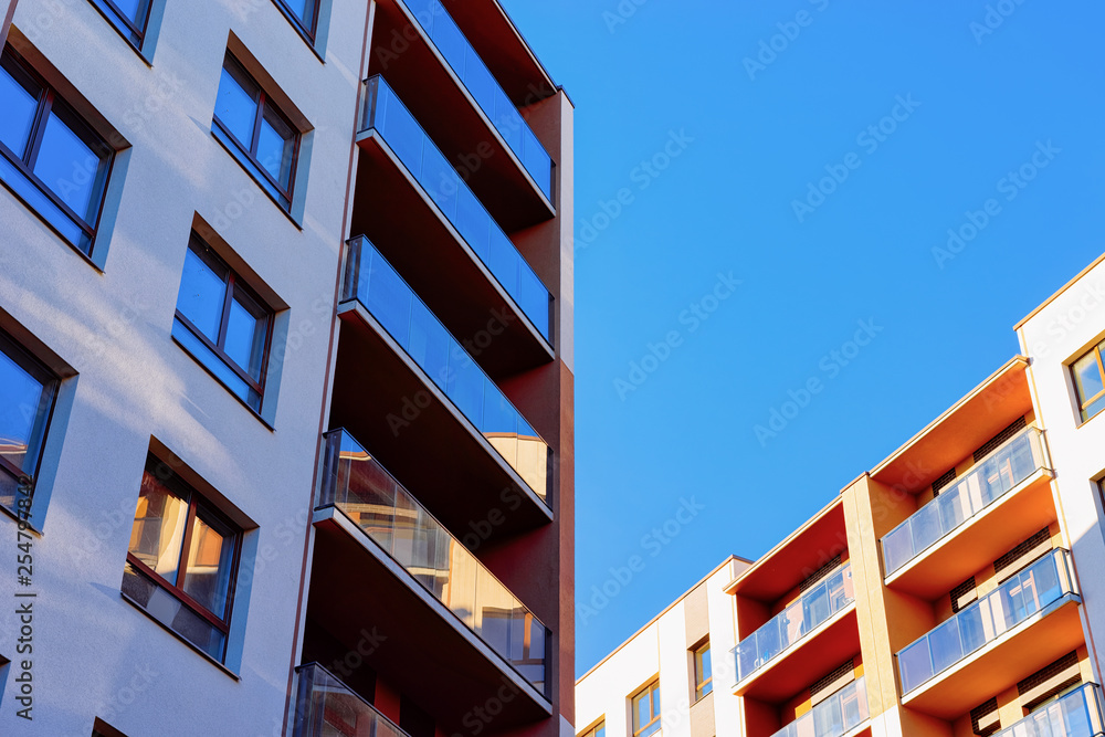 Fototapety, obrazy: Apartment residential house facade with blank place for copy space