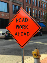 Red Road Works Construction Sign