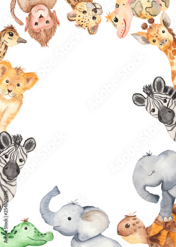Canvas Print Watercolor frame with cute cartoon animals of Africa