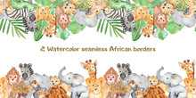 Watercolor Seamless Border With Cute Cartoon Animals Of Africa. Texture For Wallpaper, Packaging, Scrapbooking, Textiles, Fabrics, Children's Clothing And Design.