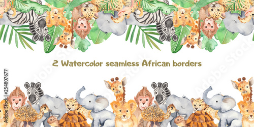 Watercolor seamless border with cute cartoon animals of Africa Wallpaper Mural