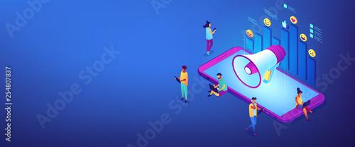 Fotografie, Obraz  Social media marketing isometric 3D banner header.