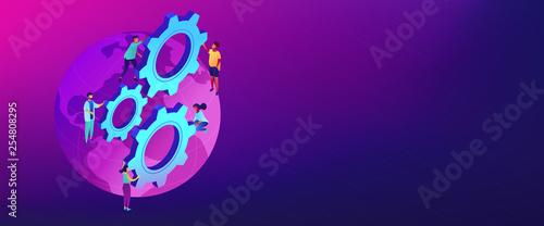 Fotografie, Obraz International business isometric 3D banner header.