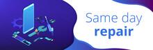 Smartphone Repair Isometric 3D Banner Header.