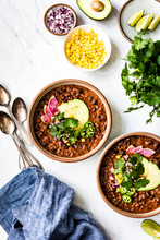 Overhead View Of Vegan Chili Served In Bowl