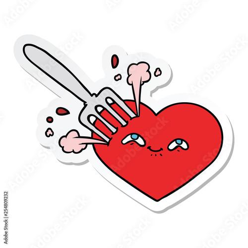 Fotografie, Obraz  sticker of a cartoon love heart stuck with fork