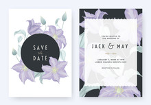 Floral Wedding Invitation Card Template Design, Purple Clematis Flowers And Leaves On White With Dark Blue Circle Frame, Pastel Vintage Theme