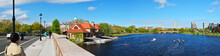 Charles River, Cambridge, Massachusetts Around Harvard University. Wide Panoramic View