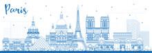 Outline Paris France City Skyline With Blue Buildings.