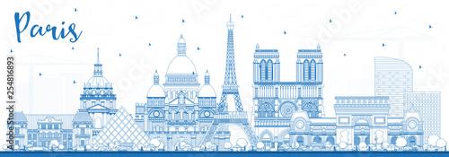 Foto  Outline Paris France City Skyline with Blue Buildings.