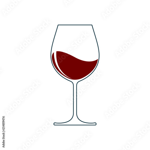 Fototapeta Wine glass icon with wine. Isolated sign glass of wine on white background. Vector illustration. obraz