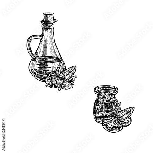 Fotografie, Obraz  Hand drawn sketch of jojoba oil