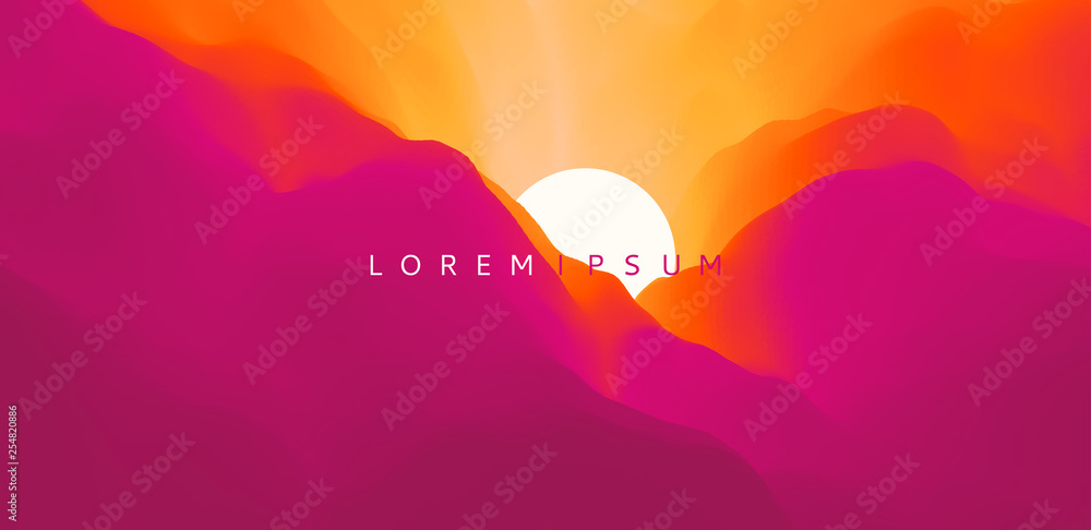 Fototapety, obrazy: Sky with clouds and sun. Landscape with mountains. Sunset. Mountainous terrain. Abstract background. Vector illustration for advertising, marketing, presentation.