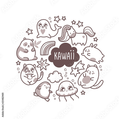 Photo  Kawaii cute round illustration with super cute animals and elements