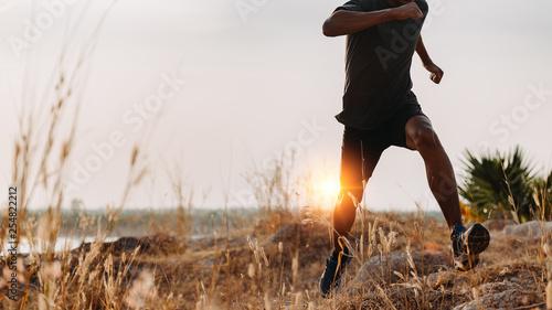 Fotografie, Tablou Image of Athlete trail running, runner running on hill.