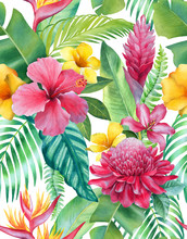 Watercolor Background With Illustrations Of Tropical Flowers. Seamless Pattern Design