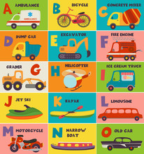 Alphabet Card With Transport A...