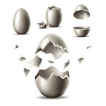 Vector 3d Silver Egg With Broken Eggshell