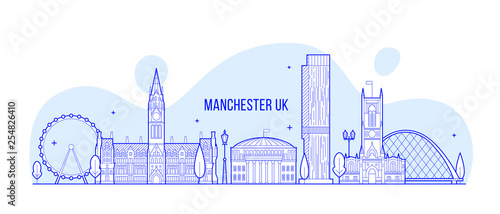 Photo  Manchester Greater England UK vector skyline line
