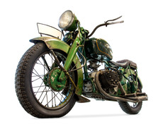 Old Motorcycle Isolated On Whi...