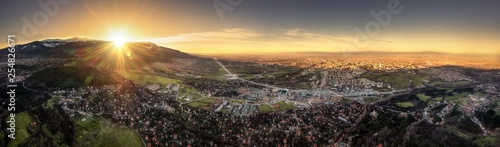 Panorama of sunset over big city