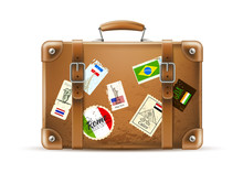 Vector Vintage Travel Bag Leat...