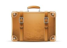 Vector Vintage Travel Bag Leather Brown Suitcase