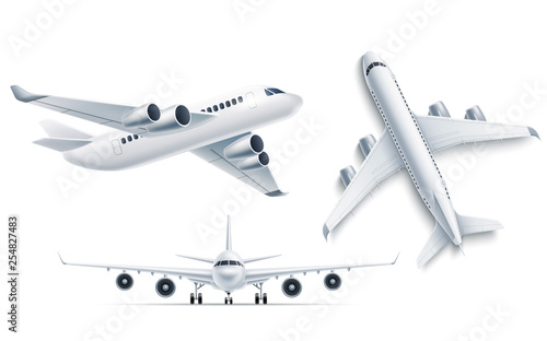 Vector realistic airplane aircraft white 3d mockup Wallpaper Mural