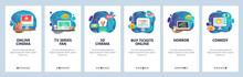 Mobile App Onboarding Screens. Online Cinema, Movie Tickets, 3D Glasses, TV Series. Menu Vector Banner Template For Website And Mobile Development. Web Site Design Flat Illustration