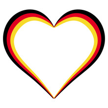 Heart Shape Flag Of Germany, Vector I Love Germany, Outline Calligraphy Of The Heart Color  Flag