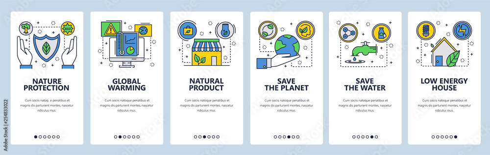 Fototapeta Mobile app onboarding screens. Environment, global warming and climate change, save the planet. Menu vector banner template for website and mobile development. Web site design flat illustration